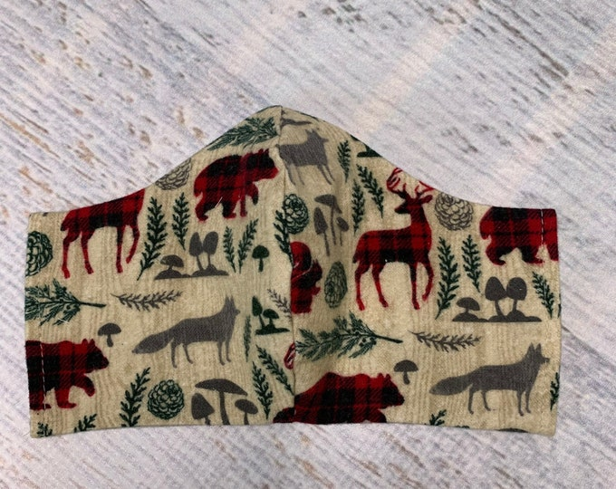 FLANNEL Face Mask Coverings - Woodland Animals - 100% Cotton - Washable With Filter Pockets - Nose Wire - Ties or Elastic