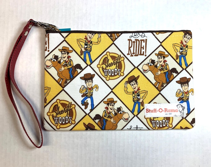 Wristlet Zipper Pouch Clutch Purse - Sheriff Woody Let's Ride