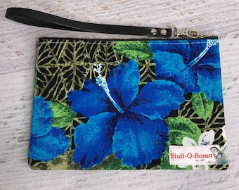 Retro 70s Hawaiian Aloha Print - Blue Hibiscus - Barkcloth - Clutch Wallet Wristlet