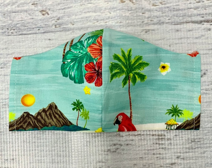 Tropical Parrot Islands - Face Mask Coverings - 100% Cotton - Washable With Filter Pockets - Nose Wire - Ties or Elastic