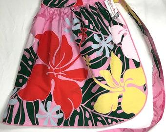 Half Apron - Vintage Pin Up Skirt Style - Pink Hawaiian