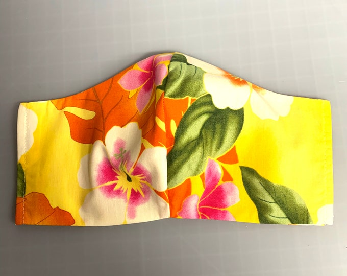 Yellow Tropical Aloha Hawaiian Print - Face Masks - 100% Cotton - Washable With Filter Pockets - Nose Wire - Ties or Elastic