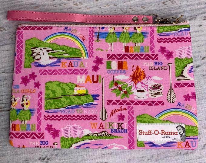 Pink Hawaiian Islands Tropical Print - Aloha Print - Clutch Wallet Wristlet