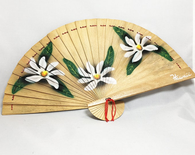 Handpainted Wooden Fan with Tiare Flower Hawaii