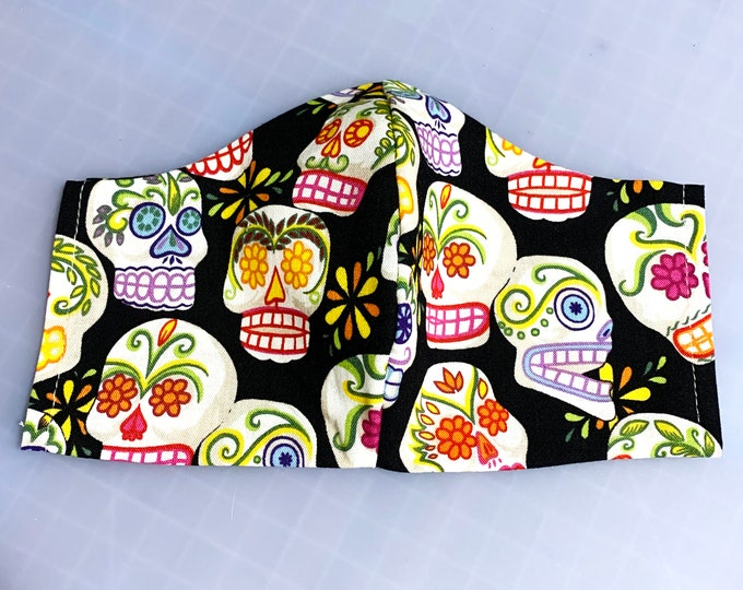 Sugar Skulls - Face Masks - 100% Cotton - Washable With Filter Pockets - Nose Wire