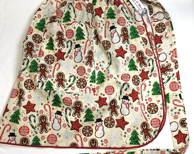 Retro Christmas Cookies - Half Apron - Vintage Pin Up Skirt Style