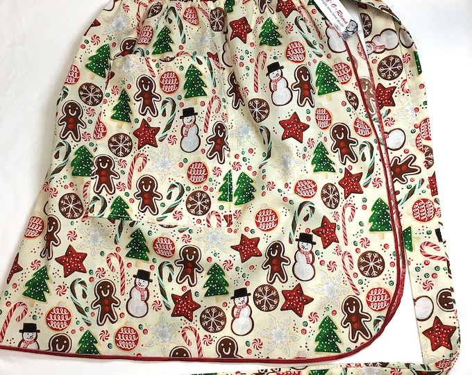 Half Apron - Vintage Pin Up Skirt Style - Retro Christmas Cookies
