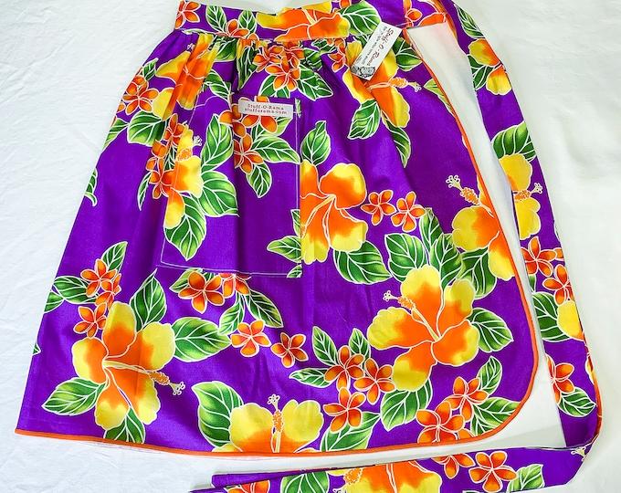 Tropical Flowers - Purple Orange Yellow Hibiscus Plumeria - Half Apron - Vintage Pin Up Skirt Style