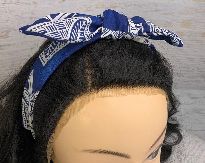 Blue or Green Honu Sea Turtle Tapa Cloth - Pin Up Style Tie Knot Headband with Removable Bow - Cotton - Aloha - Hawaiian Print - Tropical