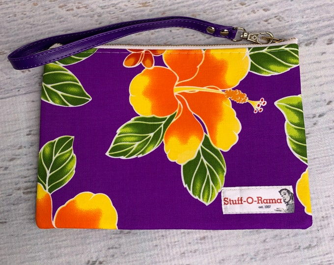 Tropical Flowers - Purple Orange Hibiscus - Hawaiian Aloha Print - Clutch Wallet Wristlet