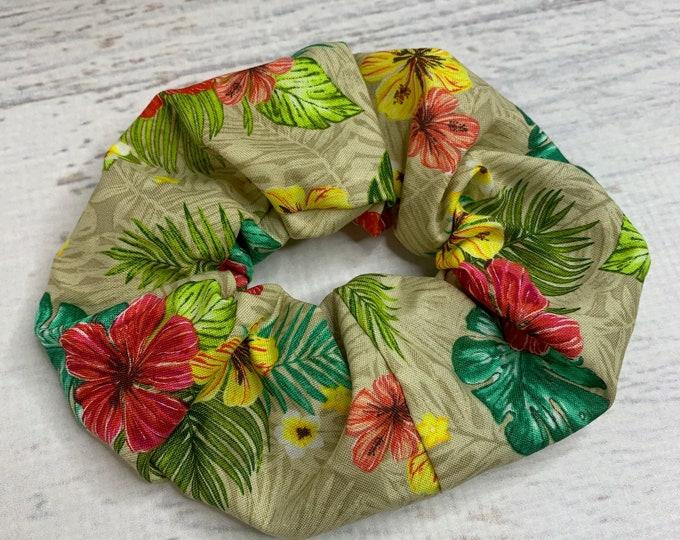 Tropical Print - Hibiscus Flowers  - Elastic Hair Tie - Fabric - Wide Width - Oversize - Scrunchie style - MCM - Retro - Vintage - Tiki