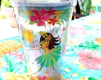 Hawaiian Hula Girls - Insulated 16oz Tumbler - BPA Free - Reusable Straw