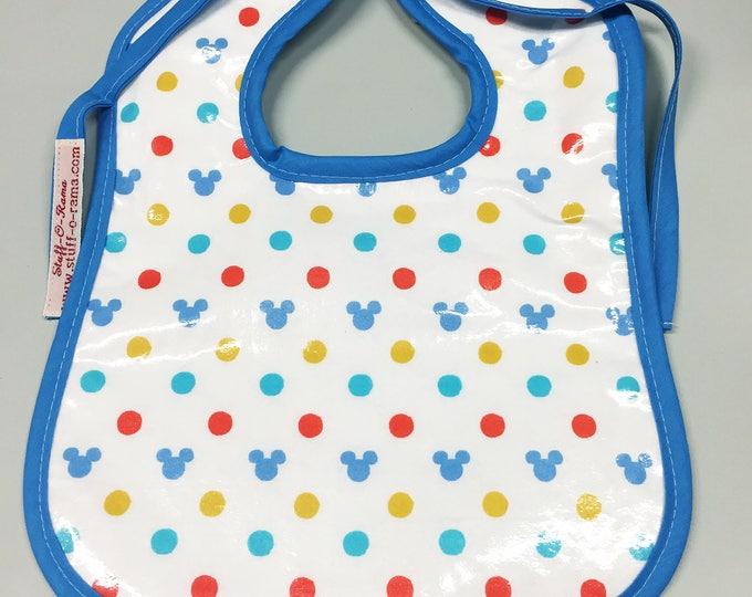 Wipeable Baby Bibs - Hidden Mickey Polka Dots