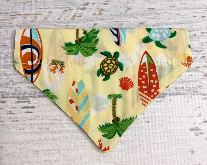 Honu and Surfboards - Dog Cat Pet Bandanna - Over the Collar - Tropical - Aloha Print - Sizes XS through XL - Dog Accessories - Neckwear