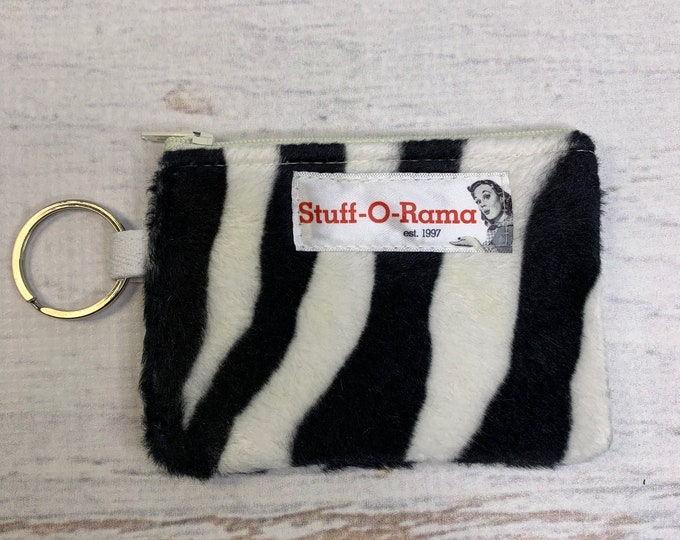 Zebra Stripes - Faux Fur - Coin Purse - Keychain - Wallet - Key Fob - Key Ring