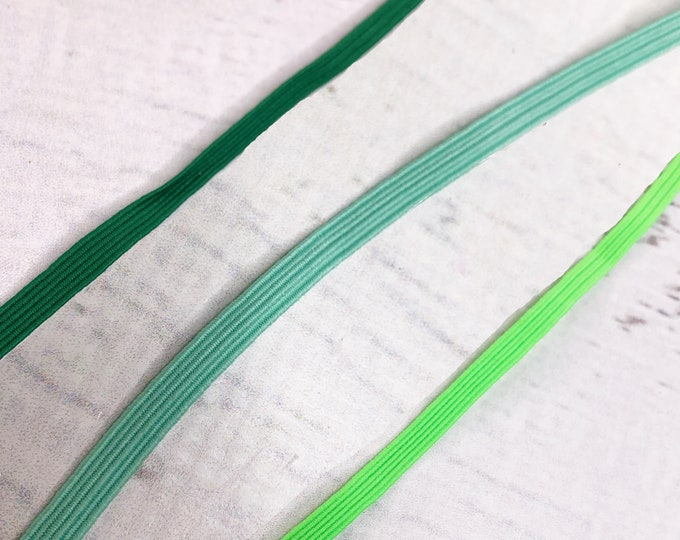 33 Yard Bundle - Green Braided Elastic - 1/4 Inch Wide - Perfect for Face Masks - Crafts - Swimsuits - Sewing Notion - Bulk - Wholesale