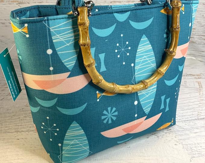 Pink Catamaran - Tote Bag - Purse - Handbag - Crossbody - Canvas - Tiki - MCM - MidCentury - Palm Springs - Mod