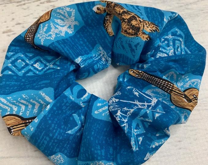 Tapa Cloth - Honu Ukulele - Sea Turtle - Elastic Hair Tie - Fabric - Wide Width - Oversize - Scrunchie style - MCM - Retro - Vintage - Tiki