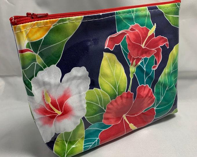 Navy Blue Floral Hawaiian Aloha Print - Make Up Bag