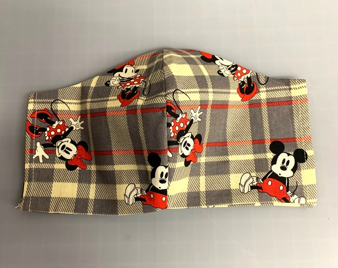 Mickey & Minnie - Face Mask Coverings - 100% Cotton - Washable With Filter Pockets - Nose Wire