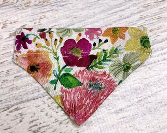 Garden Floral - Dog Cat Pet Bandanna - Over the Collar - Tropical - Aloha Print - Sizes XS through XL - Dog Accessories - Neckwear