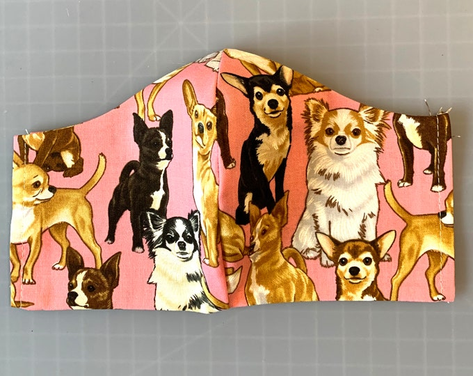 Chihuahuas - Pink - Face Masks - 100% Cotton - Washable With Filter Pockets - Nose Wire