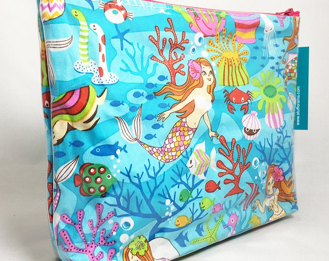 Make Up Bag - Mermaid Under the Sea Zipper Pouch
