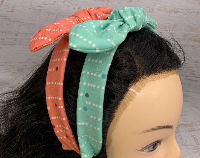 Mod MCM Polka Dots - Red or Green - Pin Up Style Tie Knot Headband with Removable Bow - Hair Wrap - Retro Vintage Style - midcentury modern