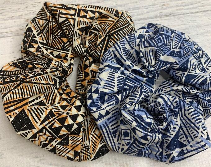 Tapa Cloth - Brown Blue - Elastic Hair Tie - Fabric - Wide Width - Oversize - Scrunchie style - Tiki - Retro - Vintage