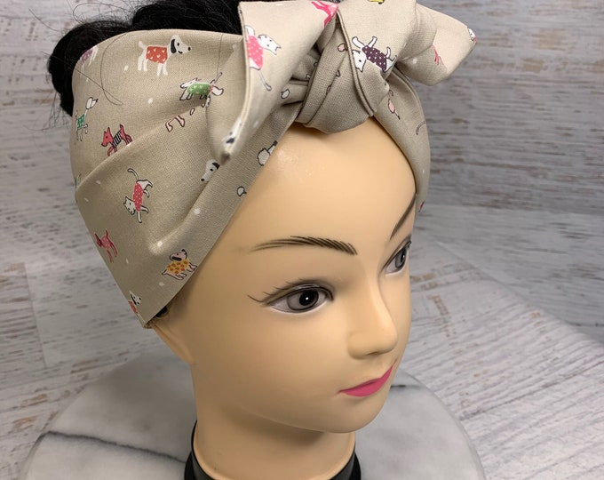 Dogs in Sweaters - Pin Up Style Wide Head Scarf - Hair Wrap - Cotton Headband - Retro