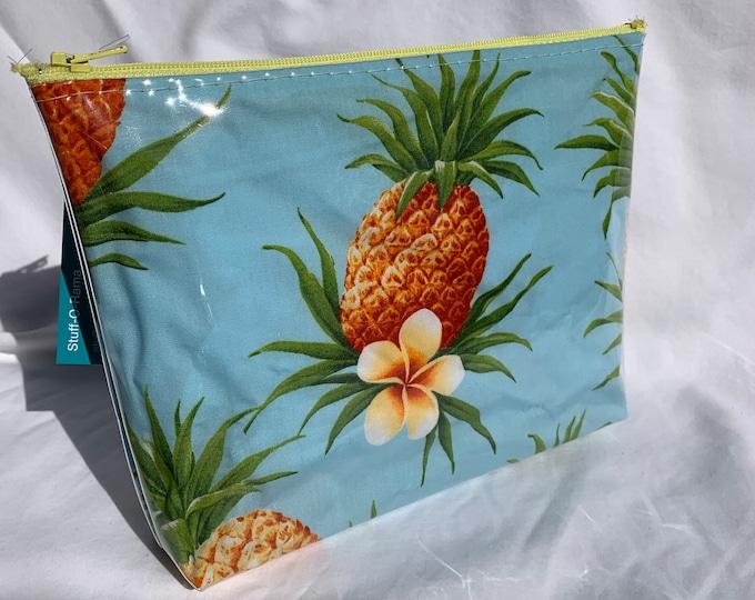 Pineapples and Plumerias Makeup Bag - Hawaiian Aloha Print
