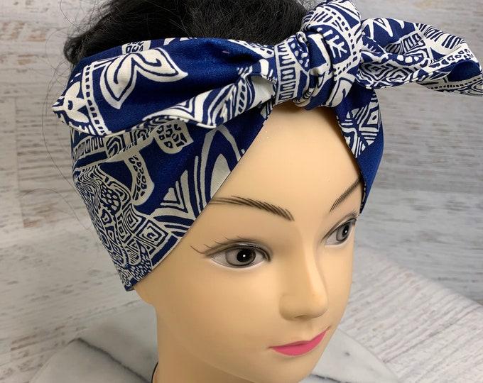 Blue or Green Honu Sea Turtle Tapa Cloth - Pin Up Style Wide Head Scarf - Hair Wrap - Cotton - Aloha Print - Hawaiian Print - Tropical