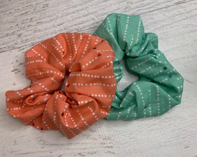 Mod - MCM - Polka Dots - Elastic Hair Tie - Fabric - Wide Width - Oversize - Scrunchie style - Christmas Holiday