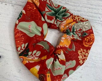 Red Hawaiian Islands Icons - Elastic Hair Tie - Fabric - Wide Width - Oversize - Scrunchie style - Disneybound - MCM - Retro - Vintage