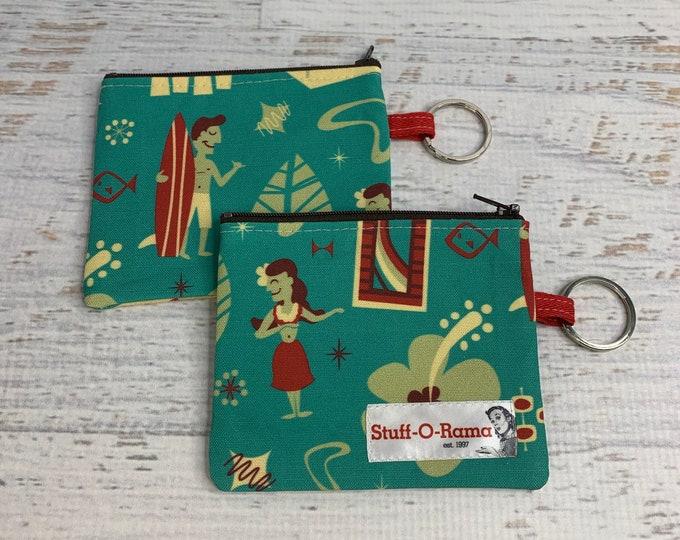 Hawaiian Village - Cotton Canvas - Coin Purse - Keychain - Wallet - Key Fob - Key Ring - Aloha Print - Hawaiian Print
