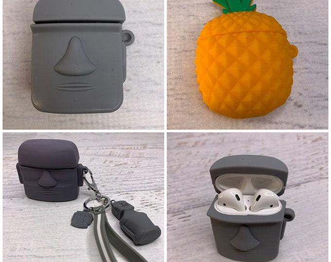 Silicone AirPod Cases - Pineapple - Tiki - Easter Island Heads - Moai - Keychain - Charms