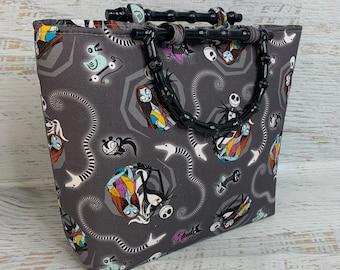 Nightmare Before Christmas - Jack and Sally - Gray - Tote Bag - Purse - Handbag - Crossbody - Halloween Christmas Collide