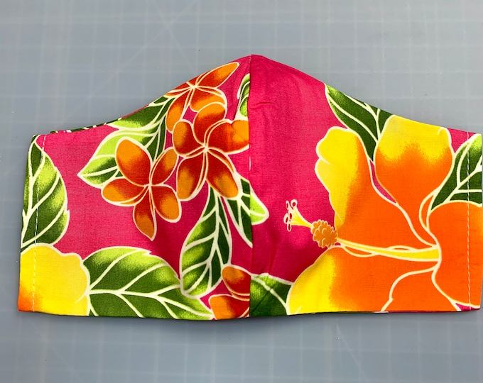 Hot Pink Magenta Aloha Hawaiian Print - Face Masks - 100% Cotton - Washable With Filter Pockets  - Nose Wire