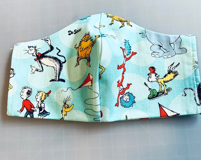 Dr Seuss - Face Mask Coverings - 100% Cotton - Washable With Filter Pockets - Nose Wire