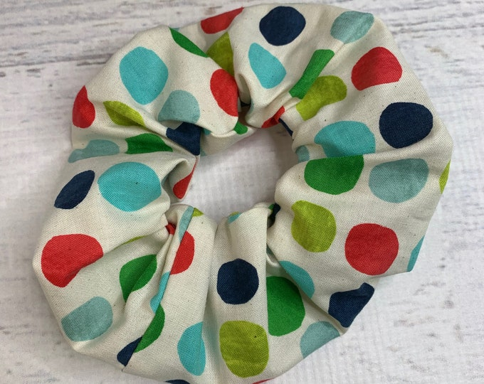 Rock The Dots - Winter Polka Dots - Elastic Hair Tie - Fabric - Wide Width - Oversize - Scrunchie style - Mod - MCM - Christmas Holiday