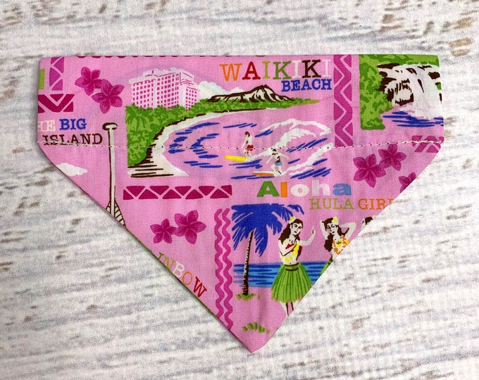 Pink Hawaiian Islands - Dog Cat Pet Bandanna - Over the Collar - Tropical - Aloha Print - Sizes XS through XL - Dog Accessories - Neckwear