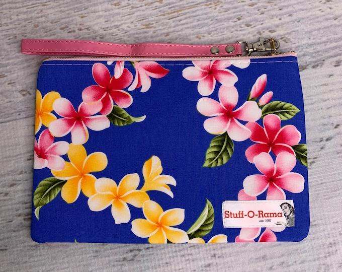 Tropical Flowers - Blue Plumeria Leis - Frangipani - Hawaiian Aloha Print - Clutch Wallet Wristlet