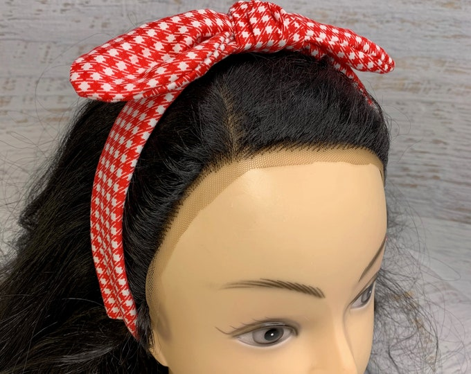Red Gingham - Pin Up Style Tie Knot Headband with Removable Bow- Hair Wrap - Cotton - Country - Western - Retro Vintage - Rockabilly