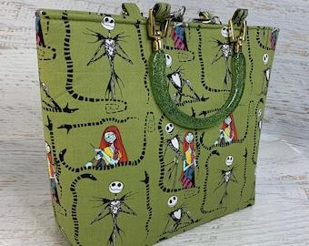 Nightmare Before Christmas - Jack and Sally - Green - Tote Bag - Purse - Handbag - Crossbody - Halloween Christmas Collide