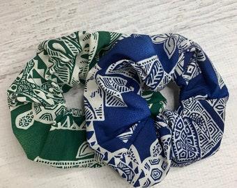 Honu Tapa Cloth - Sea Turtle - Elastic Hair Tie - Fabric - Wide Width - Oversize - Scrunchie style - Tiki - Retro - Vintage