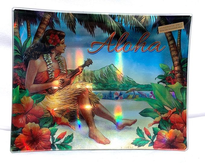 Vintage Style Hawaiian Appetizer Plate - Rainbow Foil
