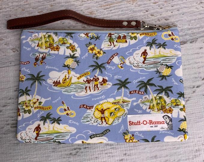 Light Blue - Retro Vintage Hawaiian Islands - Aloha Print - Clutch Wallet Wristlet