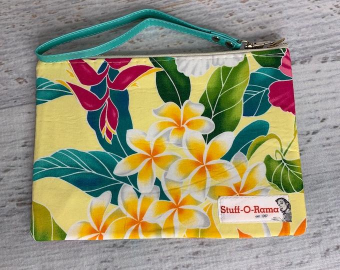 Tropical Flowers - Yellow - Hibiscus Monstera Heliconia - Hawaiian Aloha Print - Clutch Wallet Wristlet
