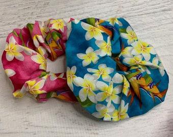 Frangipani Plumeria Bird of Paradise - Elastic Hair Tie - Fabric - Wide Width - Oversize - Scrunchie style - Tiki - Retro - Vintage