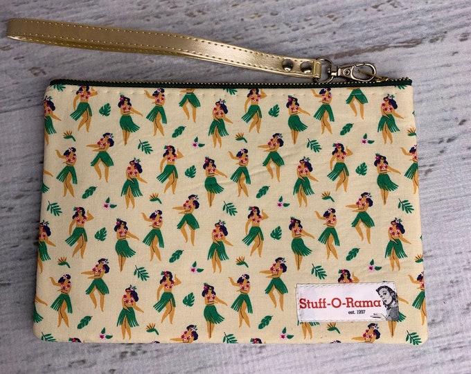Hula Dancers - Hawaiian Aloha Print - Polynesian - Clutch Wallet Wristlet
